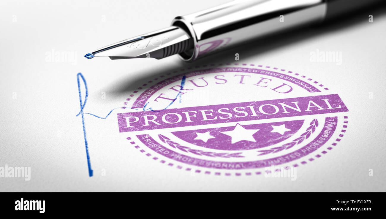 Trusted Professionnal rubber stamp mark imprinted on a paper texture with signature and fountain pen. Concept image - Stock Image