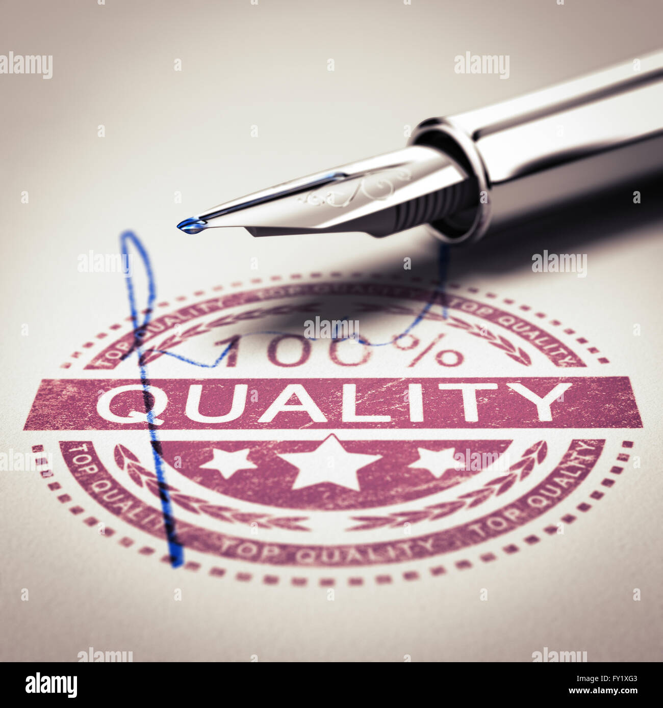 100 percent quality guarantee rubber stamp mark imprinted on a paper texture with signature and fountain pen. Concept - Stock Image