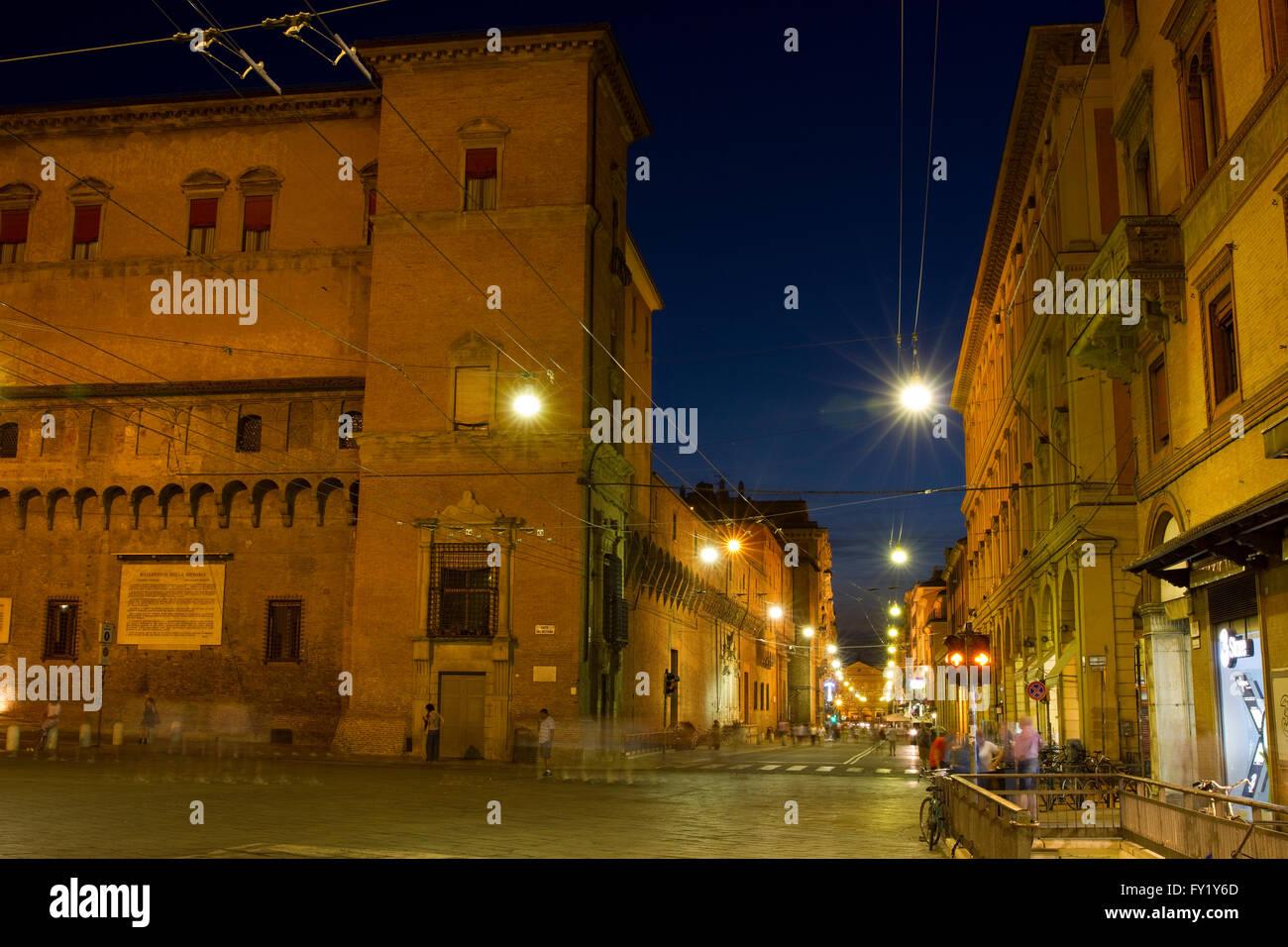 Piazza del Nettuno and Via Francesco Rizzoli in Bologna, Italy. - Stock Image