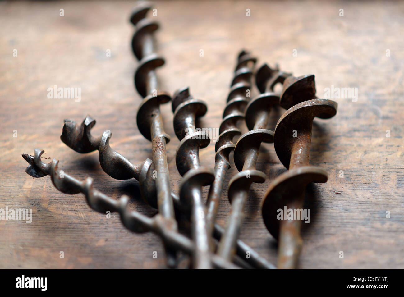 Vintage rusty drill bits - Stock Image