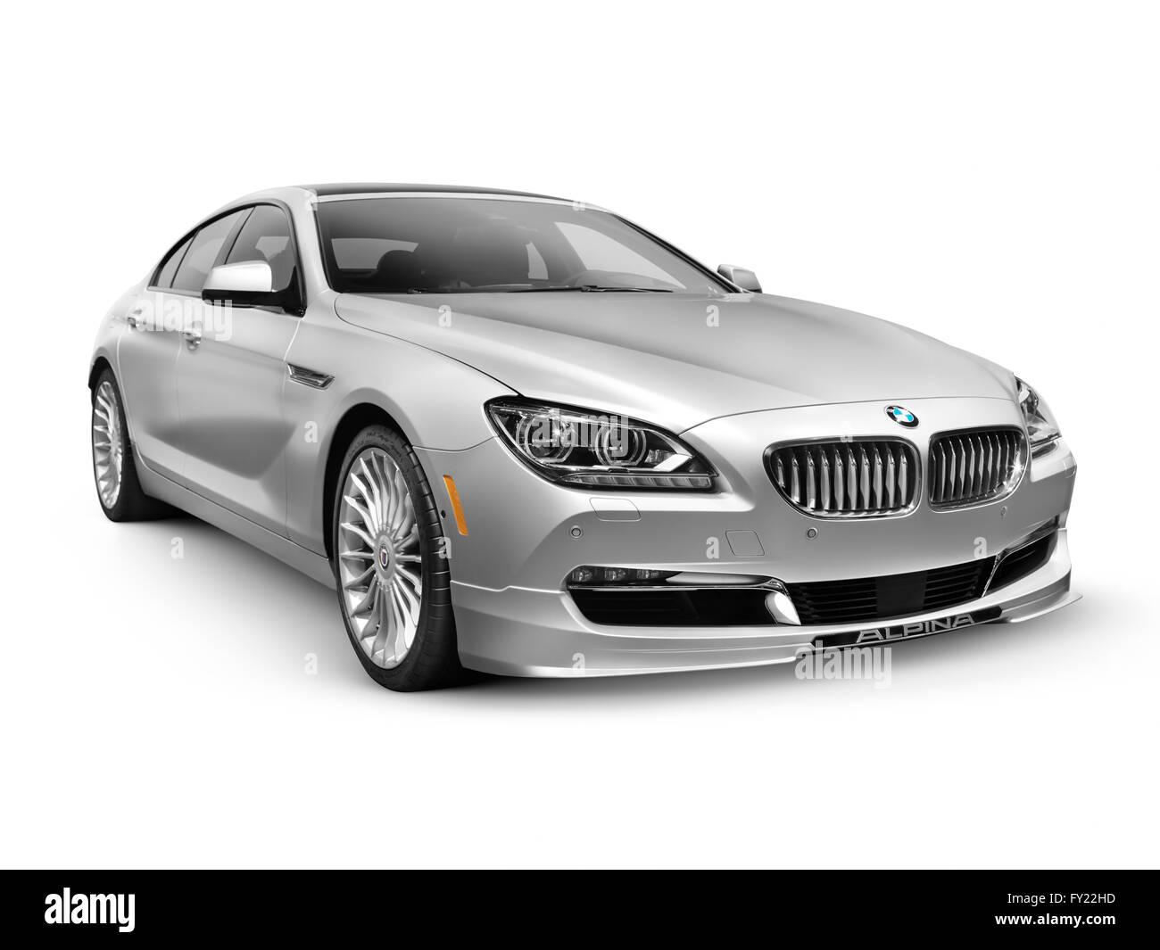 Silver 2015 BMW Alpina B6 Gran Coupe luxury car - Stock Image