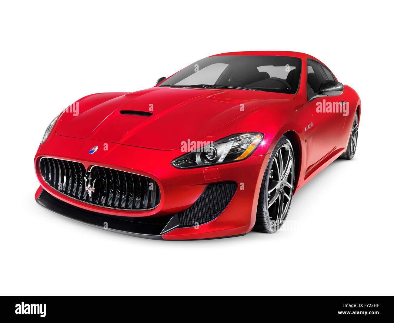 2015 Red Maserati GranTurismo MC Centennial Edition luxury car - Stock Image