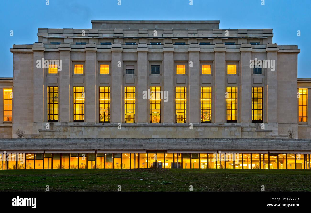 Main building, Building A, Palais des Nations, UN, Geneva, Switzerland - Stock Image