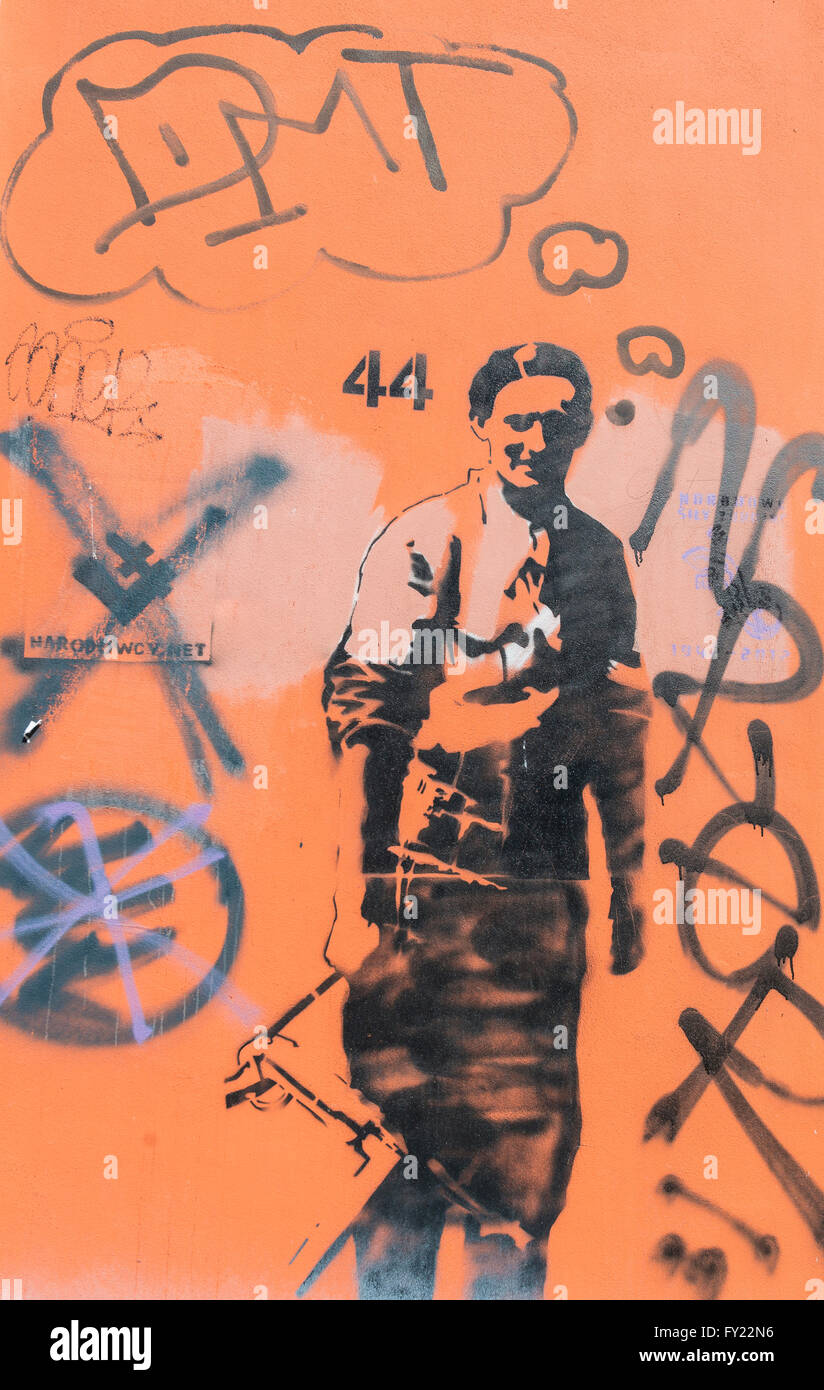 Graffiti, soldier, Warsaw, Poland - Stock Image