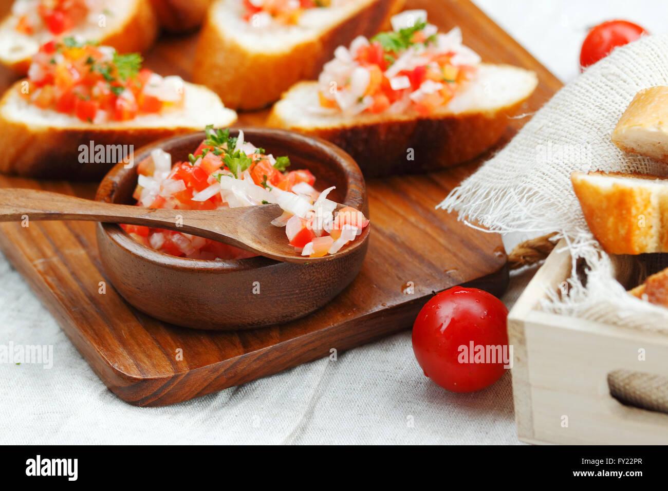 Bruschetta : the most popular Italian appetizer - Stock Image