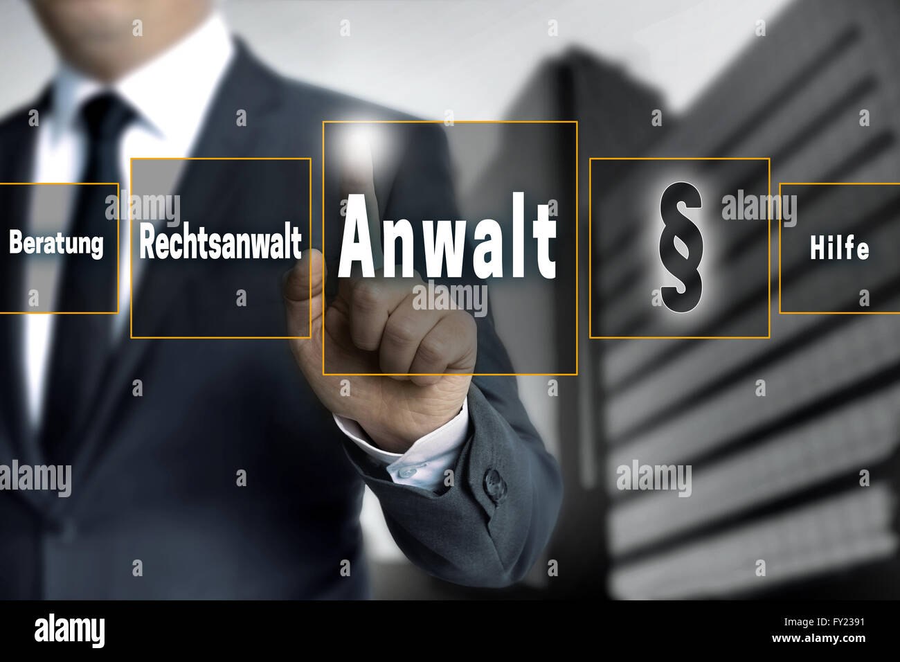 anwalt (in german lawyer, attorney, help, advice) touchscreen is operated by businessman. - Stock Image