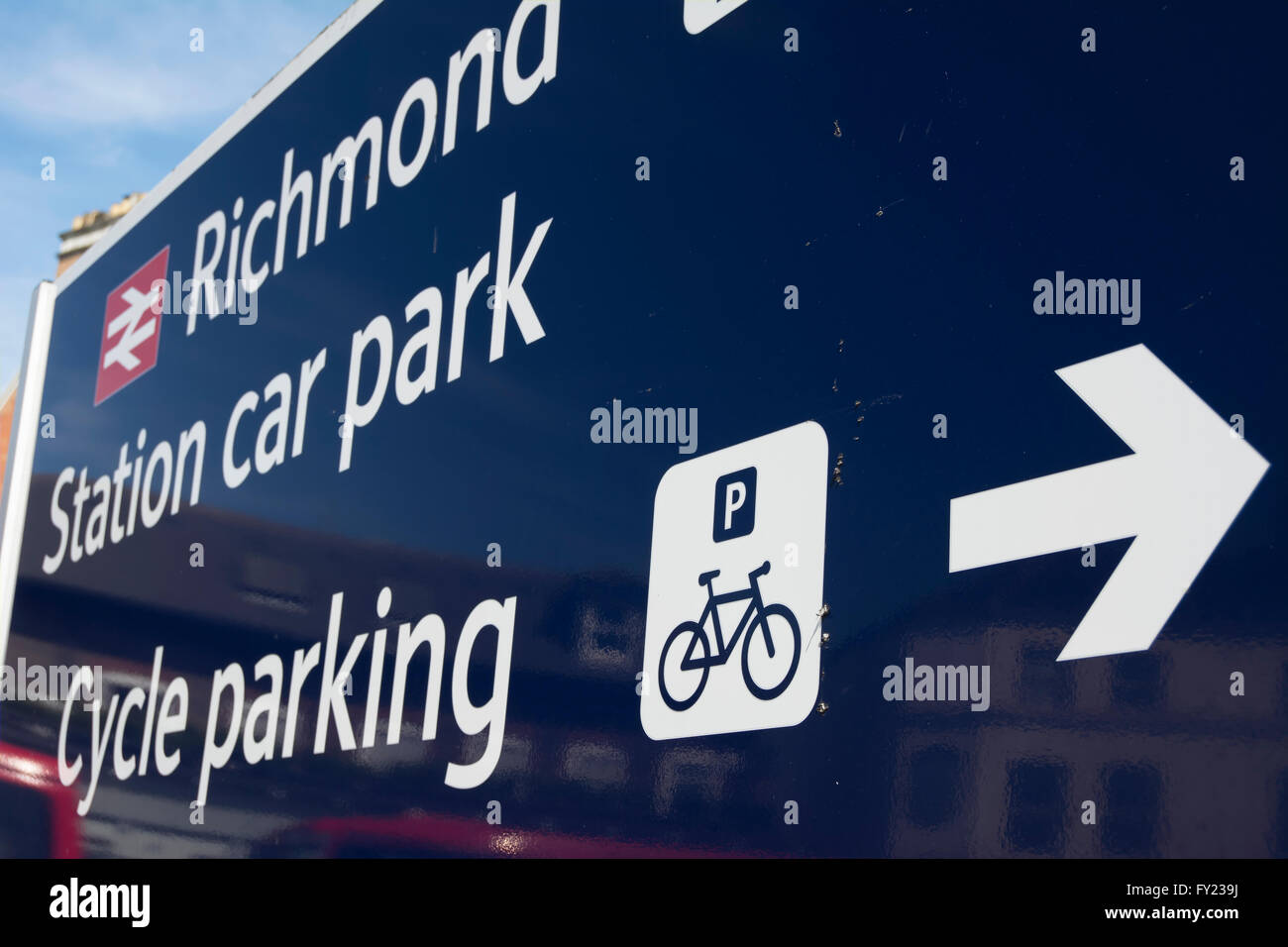 sign for cycle parking and car park at richmond station, richmond upon thames, surrey, england - Stock Image
