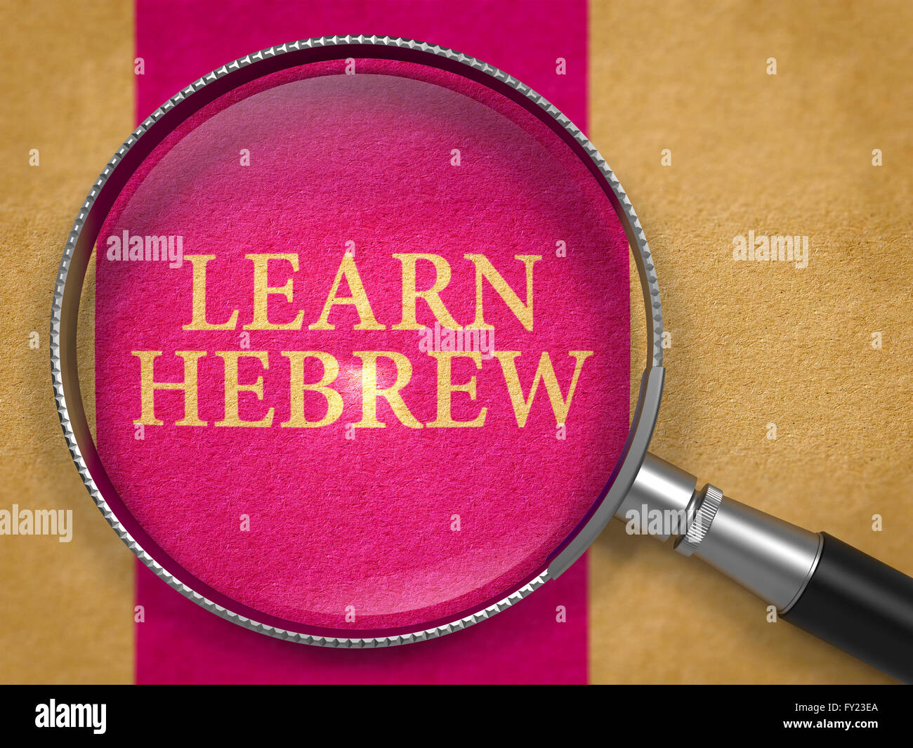 Learn Hebrew through Loupe on Old Paper. - Stock Image