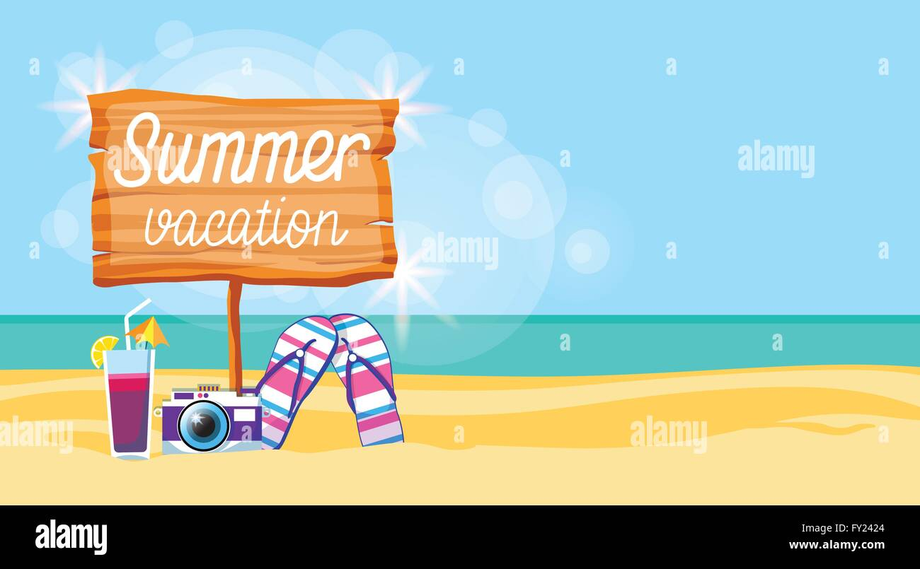 0a2e047f1eb6 Summer Beach Vacation Colorful Poster Flip Flops Camera Cocktail Sand  Tropical Banner Copy Space