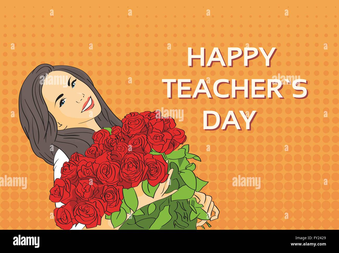 Woman hold rose flower bouquet teacher day holiday greeting card pop woman hold rose flower bouquet teacher day holiday greeting card pop art colorful retro style m4hsunfo