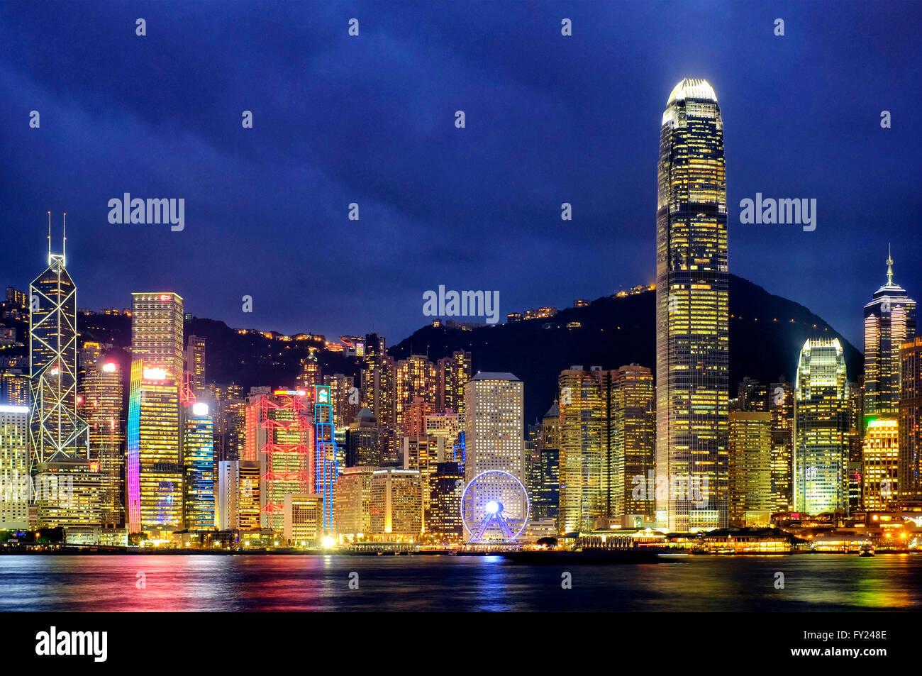 Hong Kong island skyline from Victoria Harbour, Hong Kong, China - Stock Image