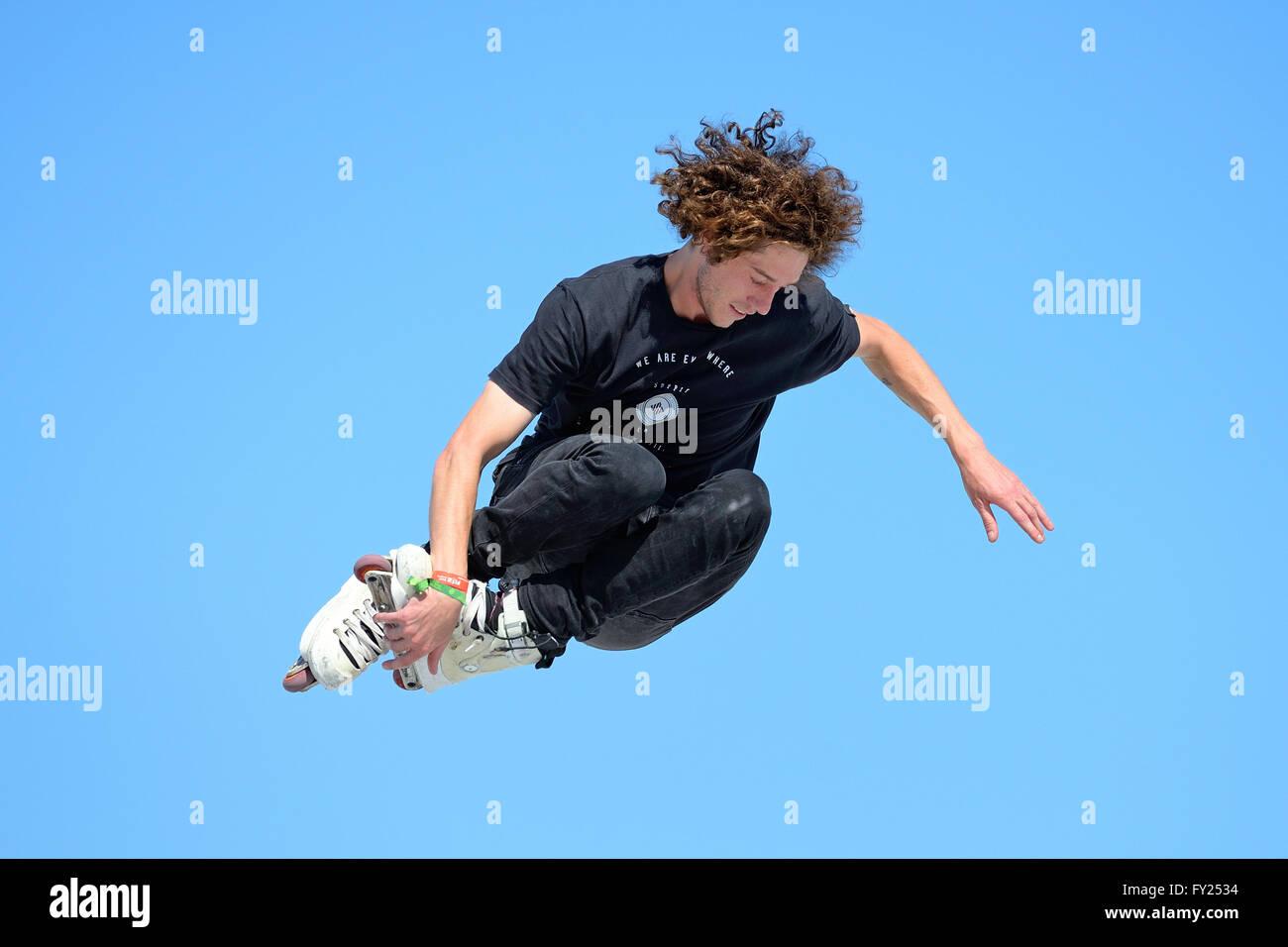 BARCELONA - JUN 28: A professional skater at the Inline skating