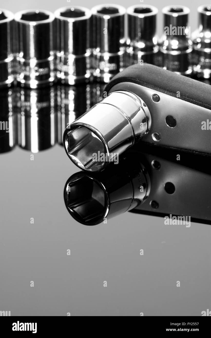 Sockets set ratchet tool reflection Stock Photo
