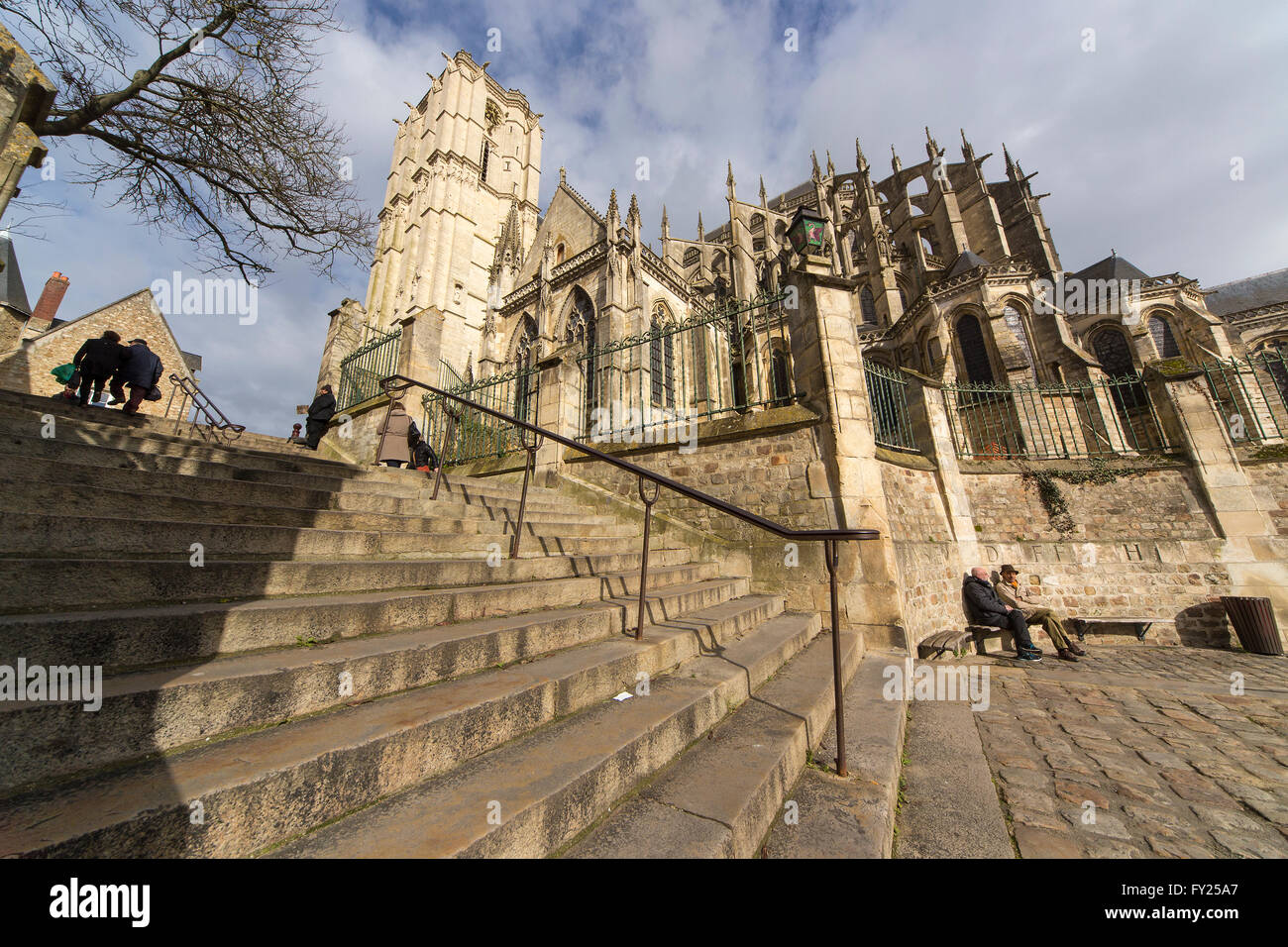 Steps leading to Cathedral in Le Mans Stock Photo