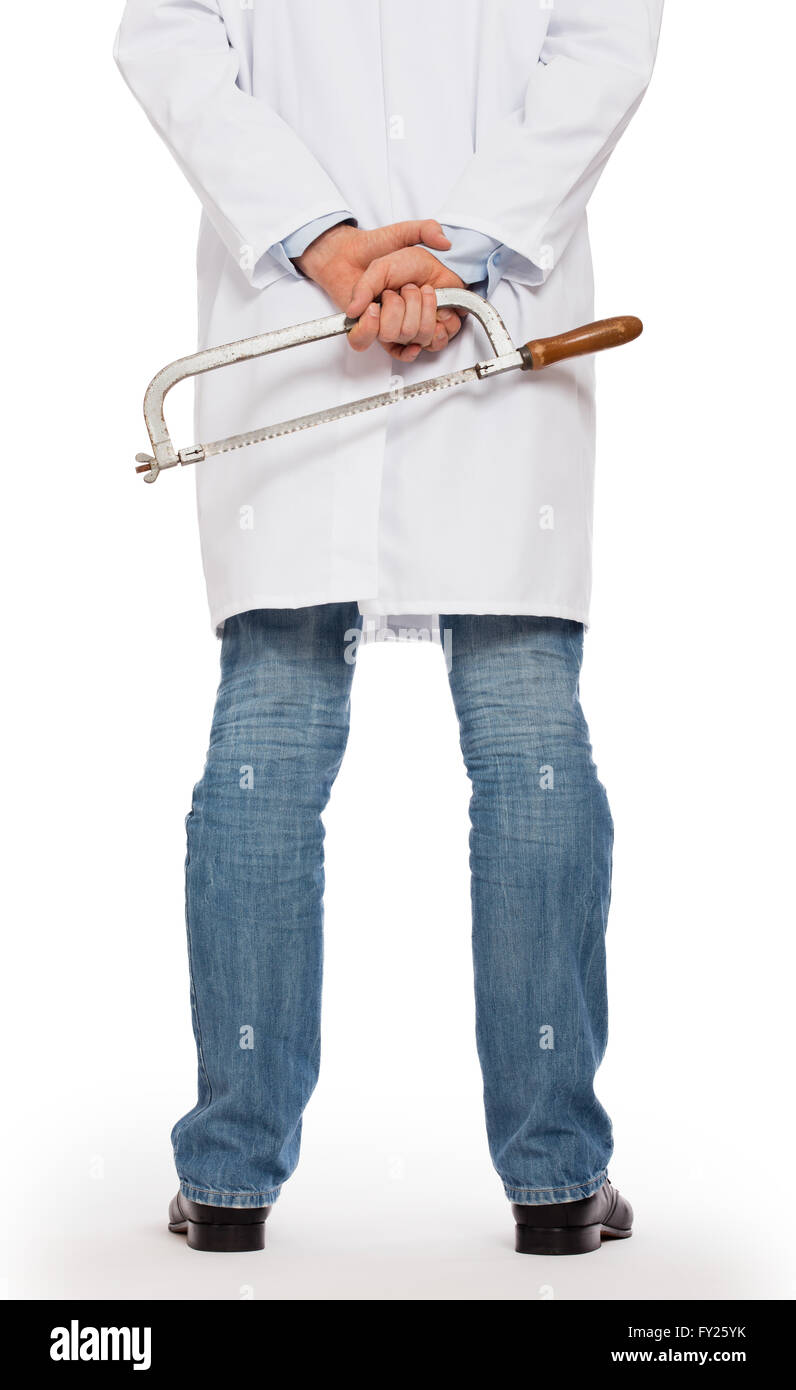 Crazy doctor is holding a big saw in his hands, isolated on white - Stock Image