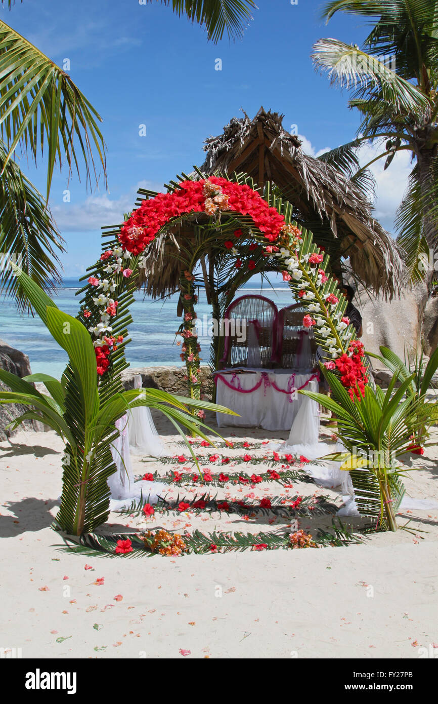 arch for the wedding, the Seychelles, the equator - Stock Image