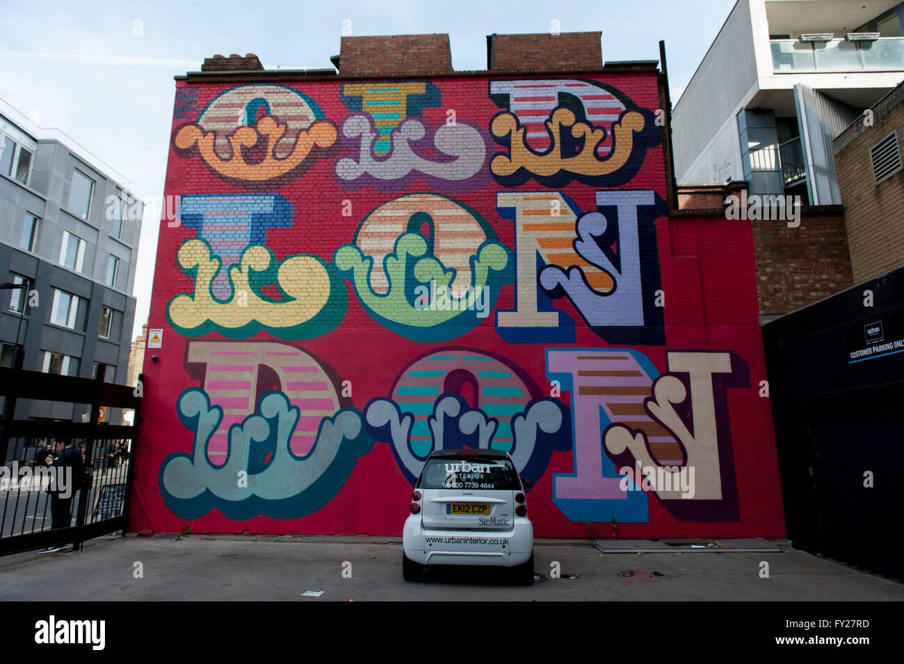 Street art by Ben Eine, Old London - Stock Image