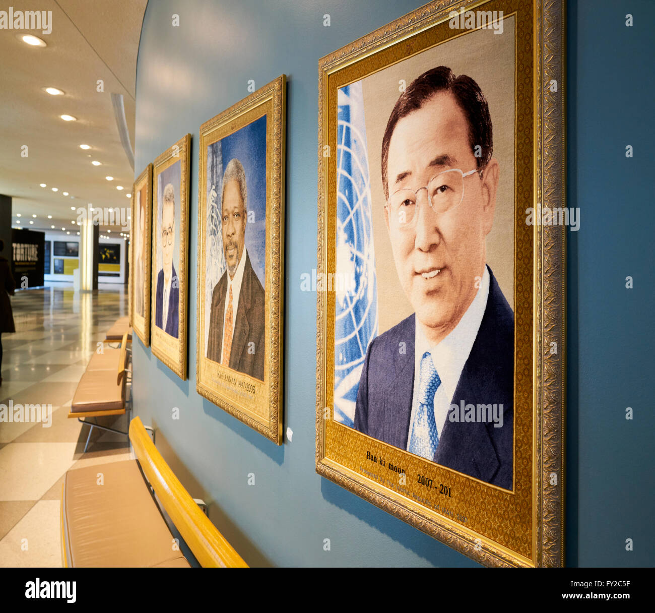 Paintings depicting the Former Secretaries General of the United Nations. United Nations Headquarters Manhattan - Stock Image