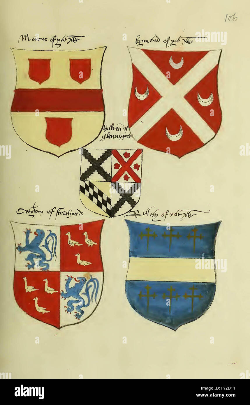 Fac simile of an ancient heraldic manuscript by Lindsay, David, Sir, fl. 1490-1555; Lizars, W. H. (William Home), - Stock Image