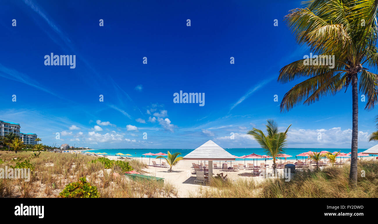 Panoramic view of Grace Bay - Stock Image