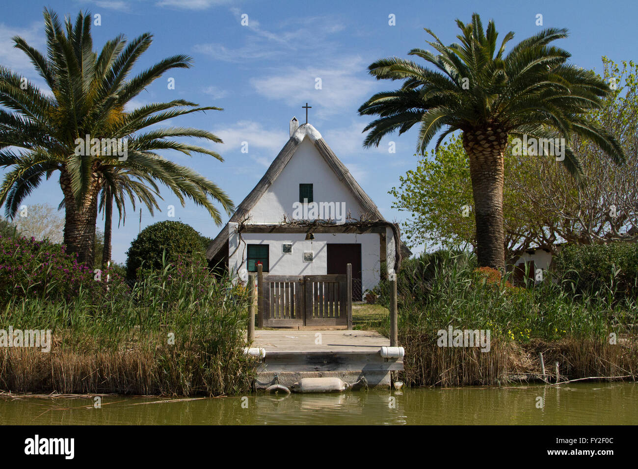 Barraca typical house at the Albufera nature reserve Valencia Spain - Stock Image