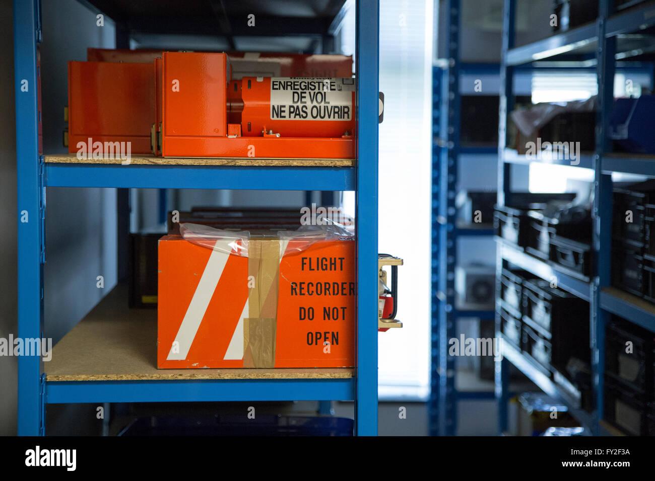 Air Accident Investigation Branch Farnborough, A.A.I.B., Black Box - Stock Image