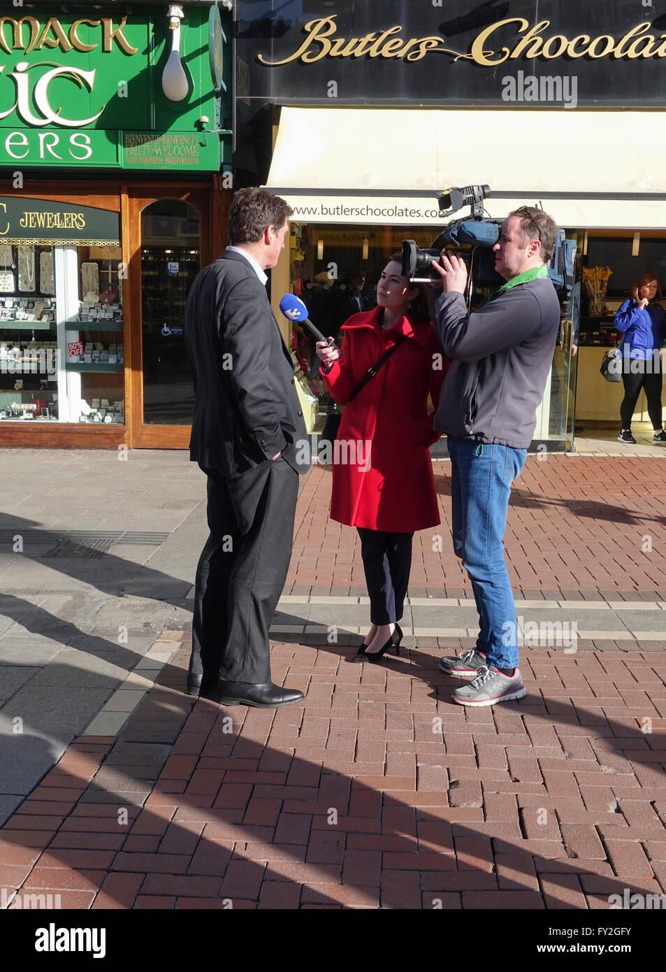Television Interview on Grafton Street, Dublin -1 - Stock Image