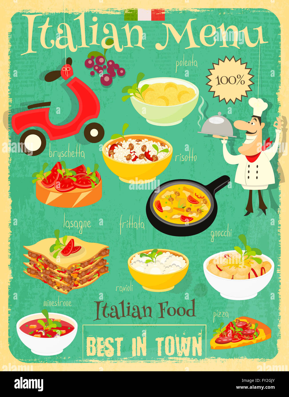 Italian Food Menu Card With Traditional Meal Retro Vintage Design