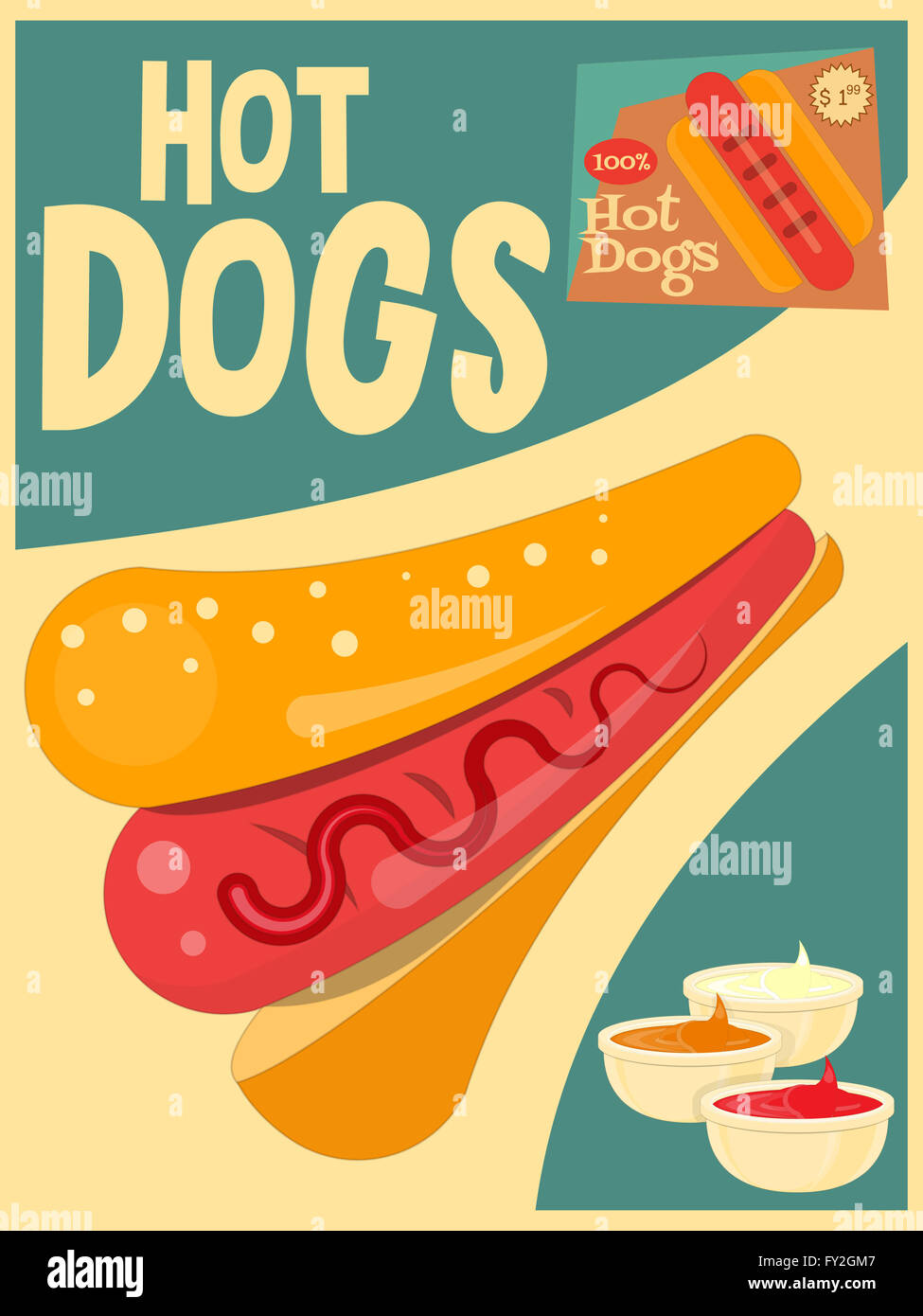 Vintage Kitchen Poster Hot Dog Ad CUTE RETRO KIDS Ad Retro Kids Cartoon