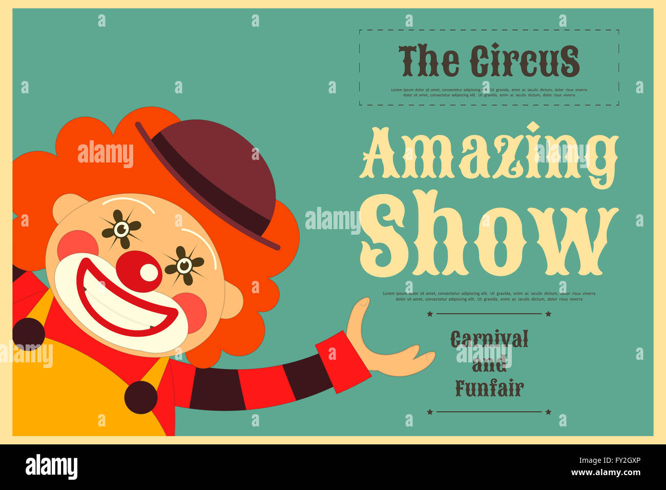 Circus Poster In Vintage Style Cartoon Clown Illustration
