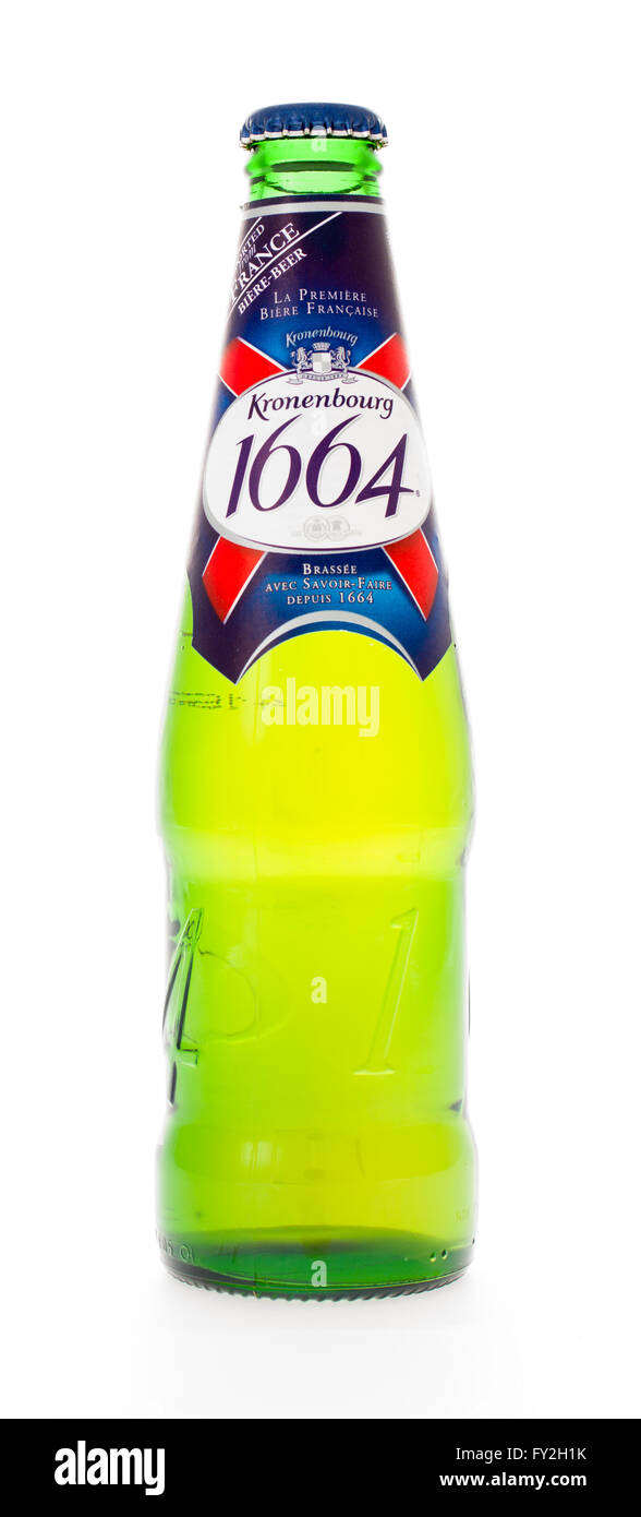 Winneconne, WI - 3 February 2015: Kronenbourg 1664 beer was first brewed in 1952 in Strasbourg, France. - Stock Image