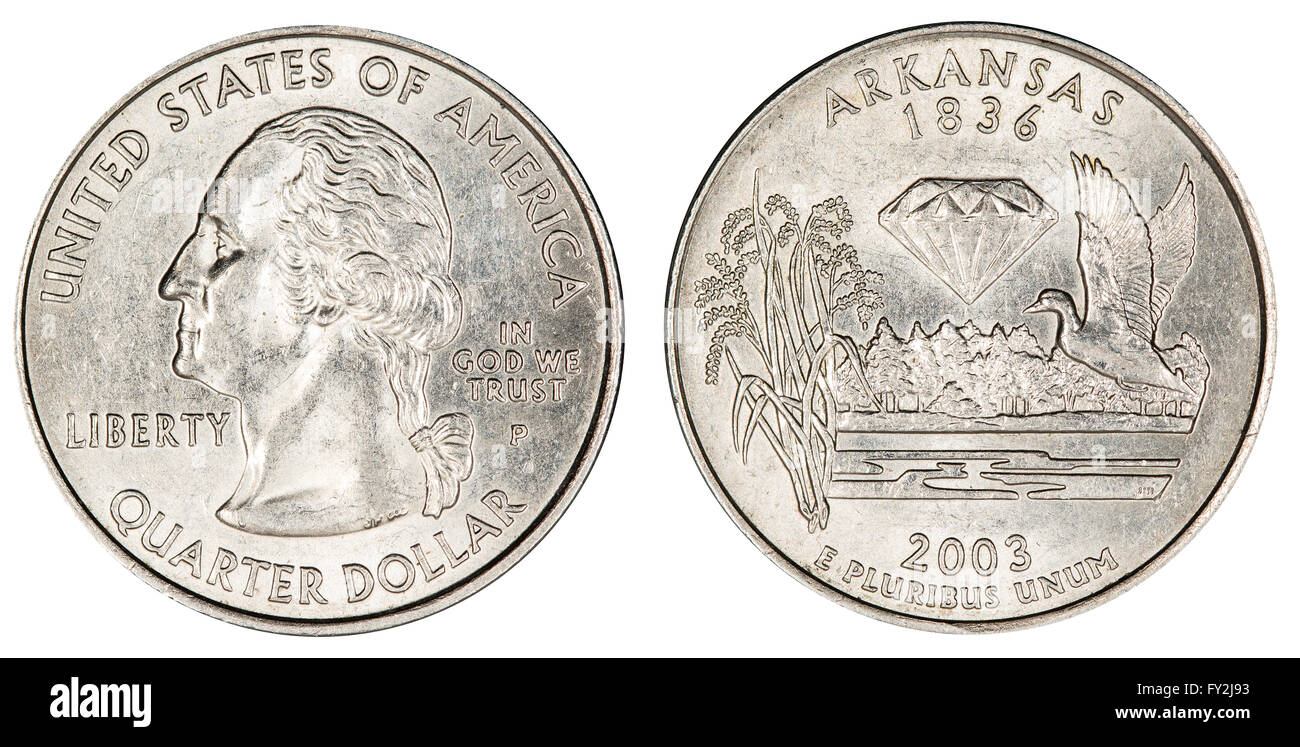 quarter dollar coin - Stock Image