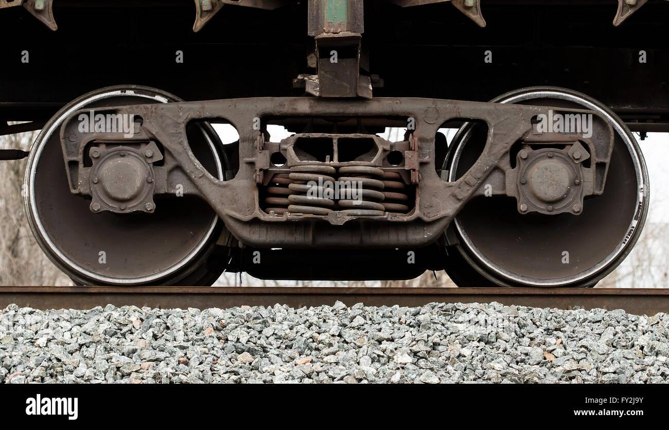 freight railcar wheels Stock Photo