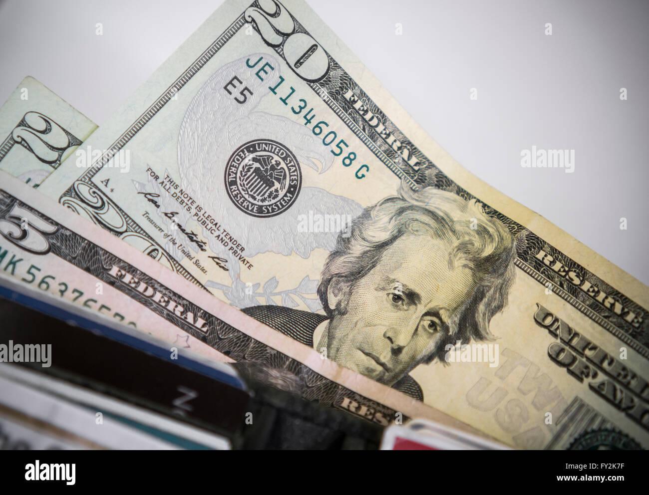 A U S  twenty dollar bill with Andrew Jackson is seen
