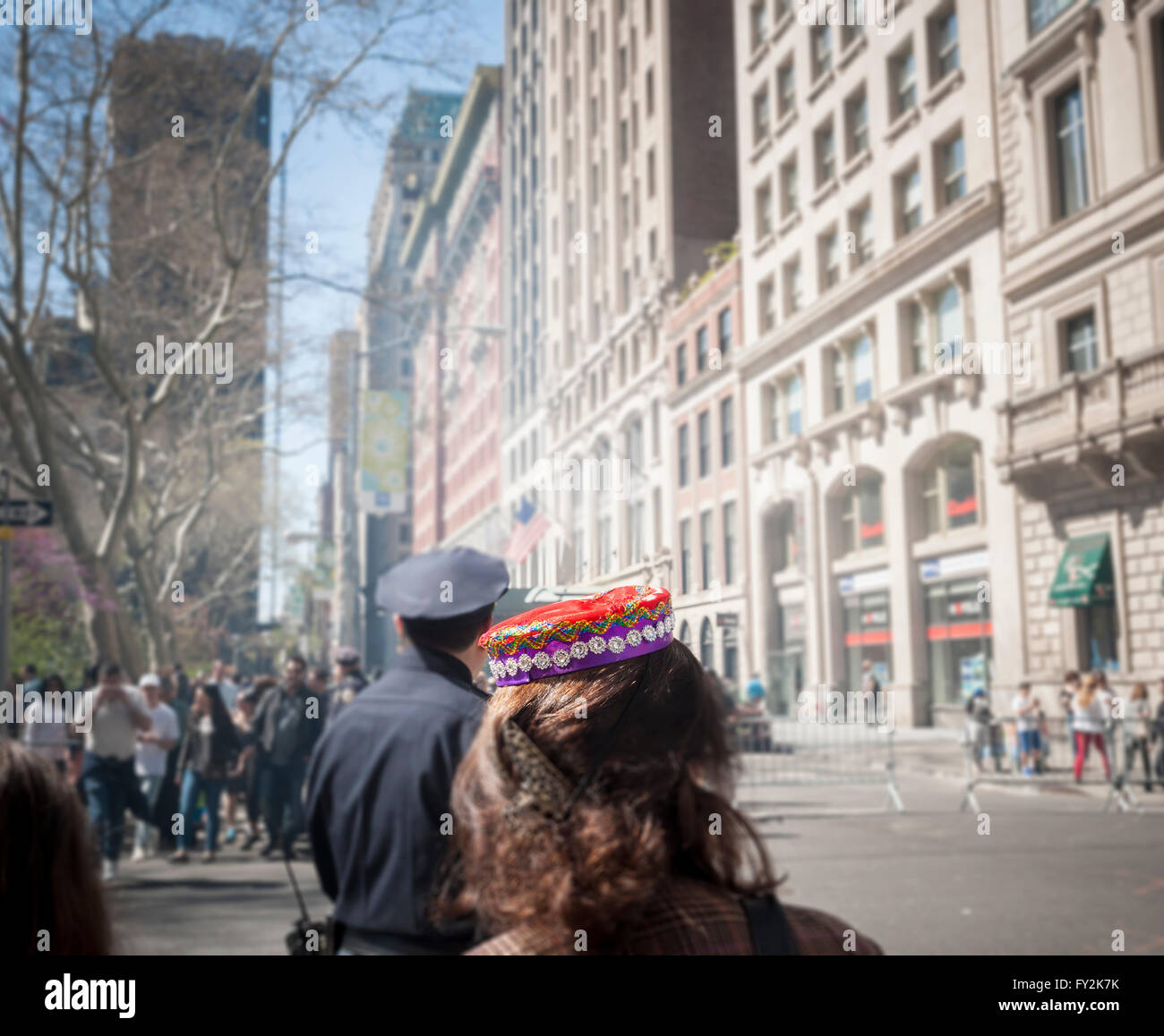 A woman wears a traditional hat at the Persian Parade on Madison Ave. in New York on Sunday, April 17, 2016. The Stock Photo
