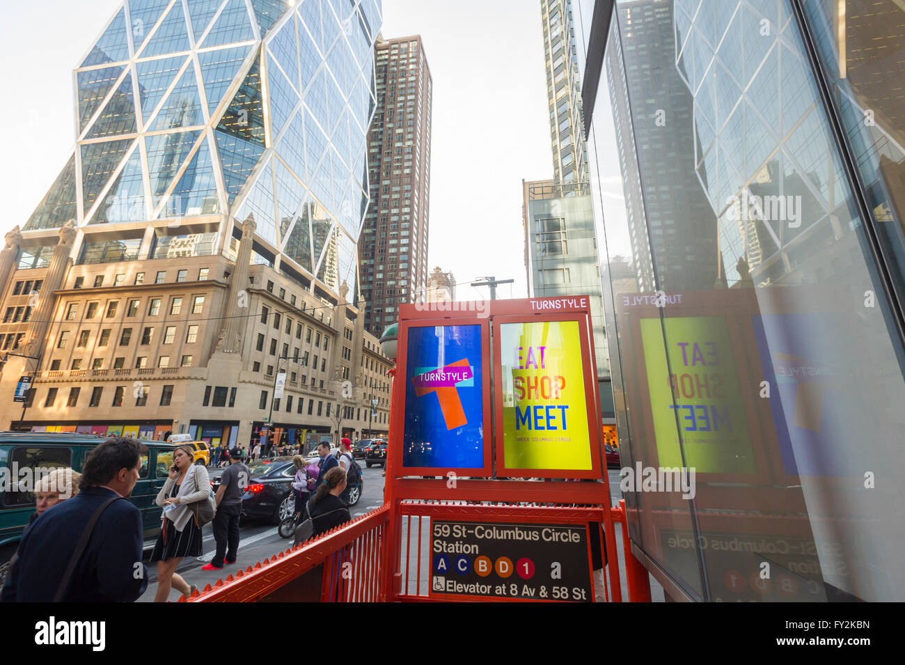 A branded subway entrance for the Columbus Circle station in New York for the new Turnstyle food hall and retail Stock Photo