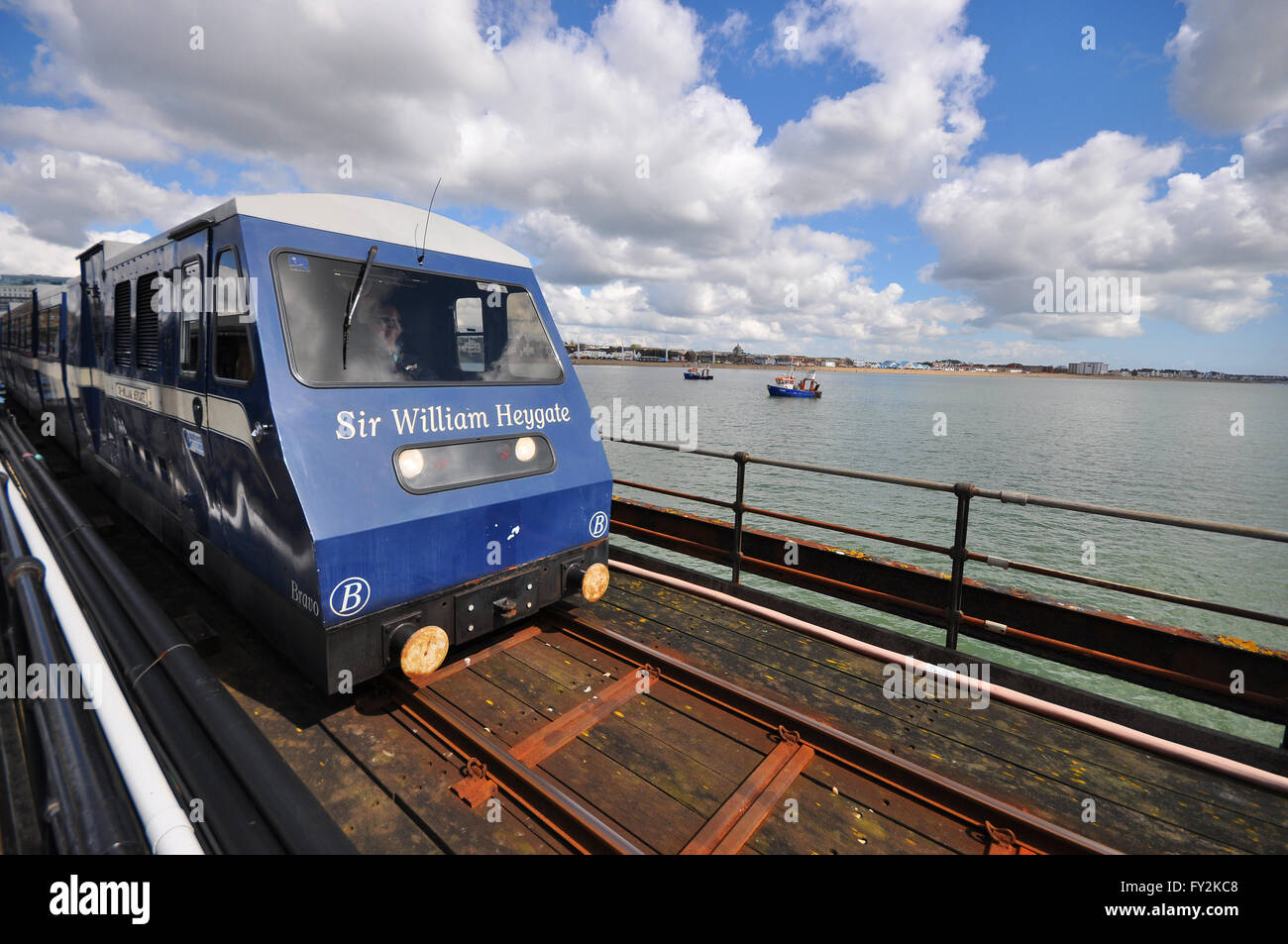 Southend Pier railway. Train named Sir William Heygate after 1st Baronet who campaigned to create the pier. Space - Stock Image