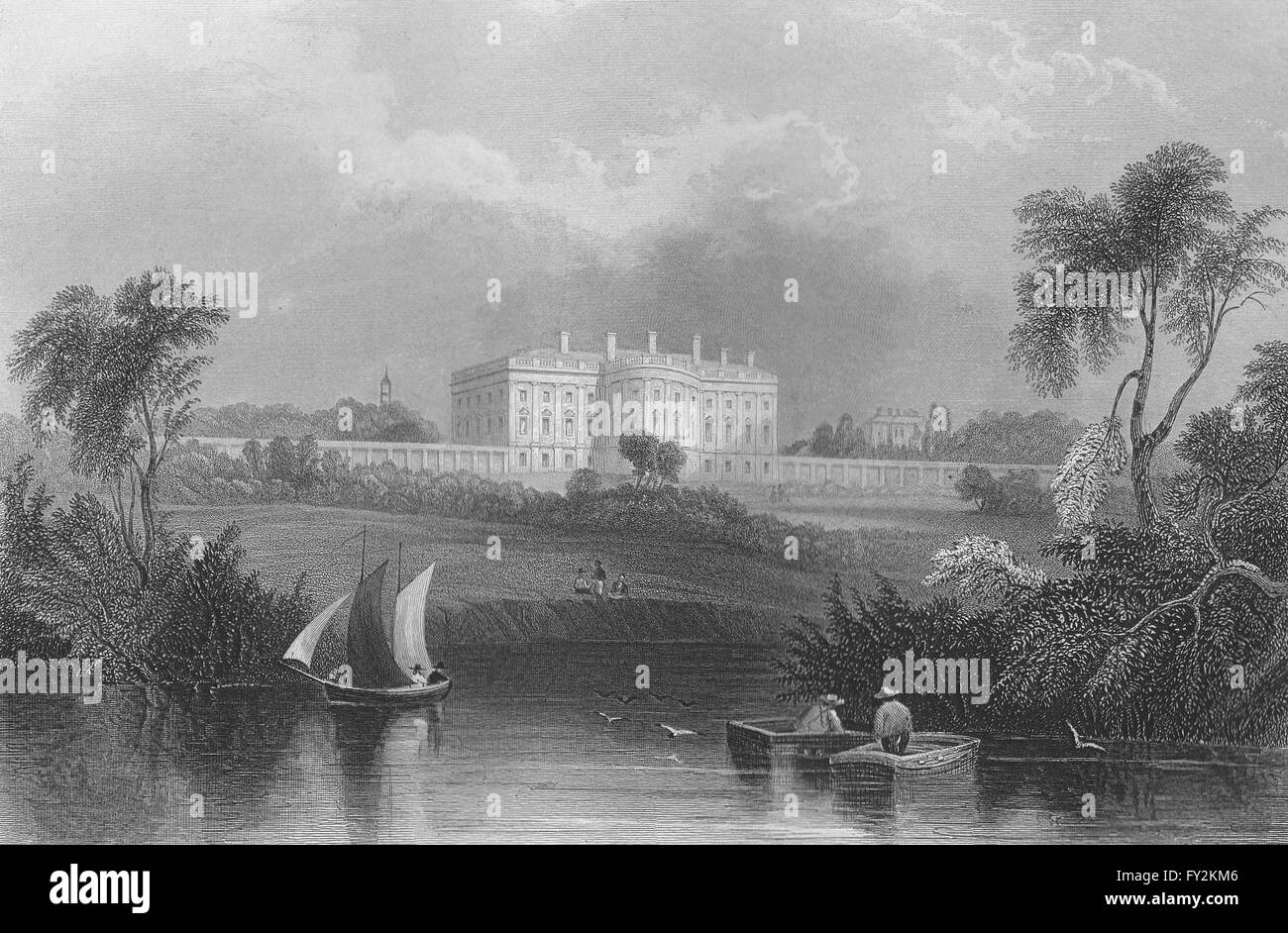 The President's House, from the River, Washington DC. WH BARTLETT ...