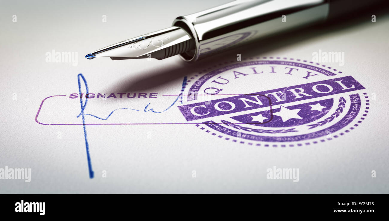 Quality control approved stamp and signature with fountain pen. Conceptual 3D illustration of quality audit and - Stock Image