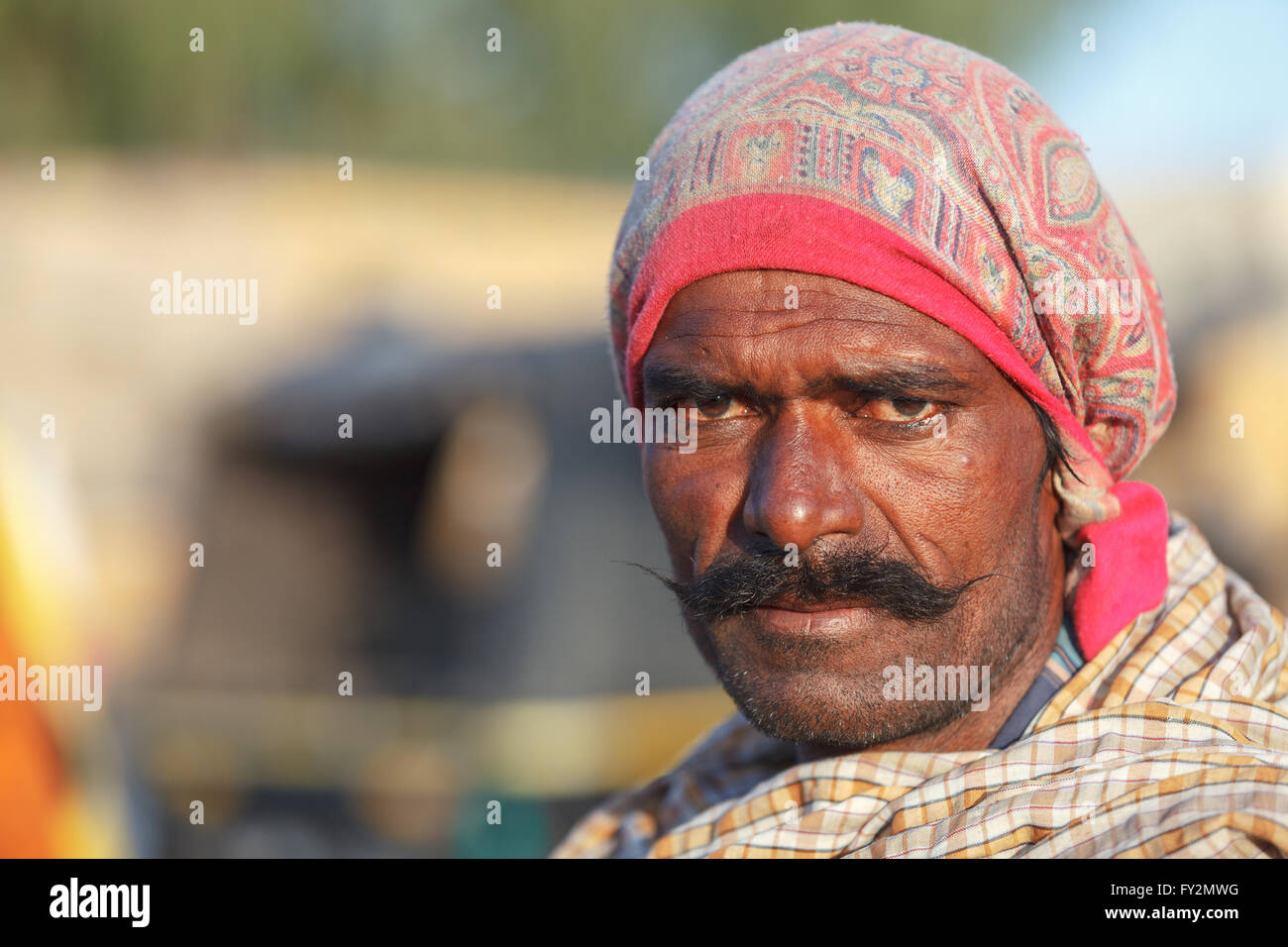 Traditionally dressed unidentified Indian tribal man looks at the camera with a strong character in his face, Jaisalmer, Stock Photo