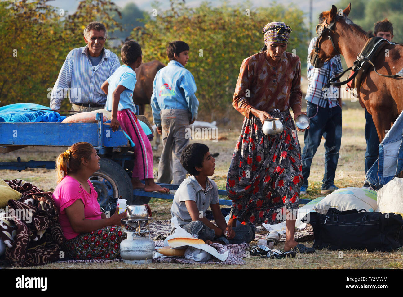 Local and nomadic people meet in Pavli fair.It is a traditional fair and once in a year thousands of people visit. - Stock Image