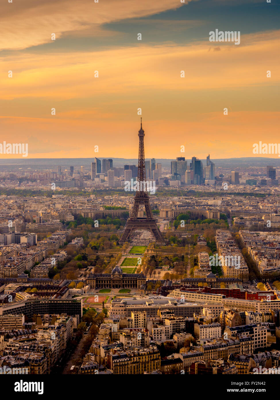 Sunset over Paris with Eiffel Tower, Paris, France - Stock Image