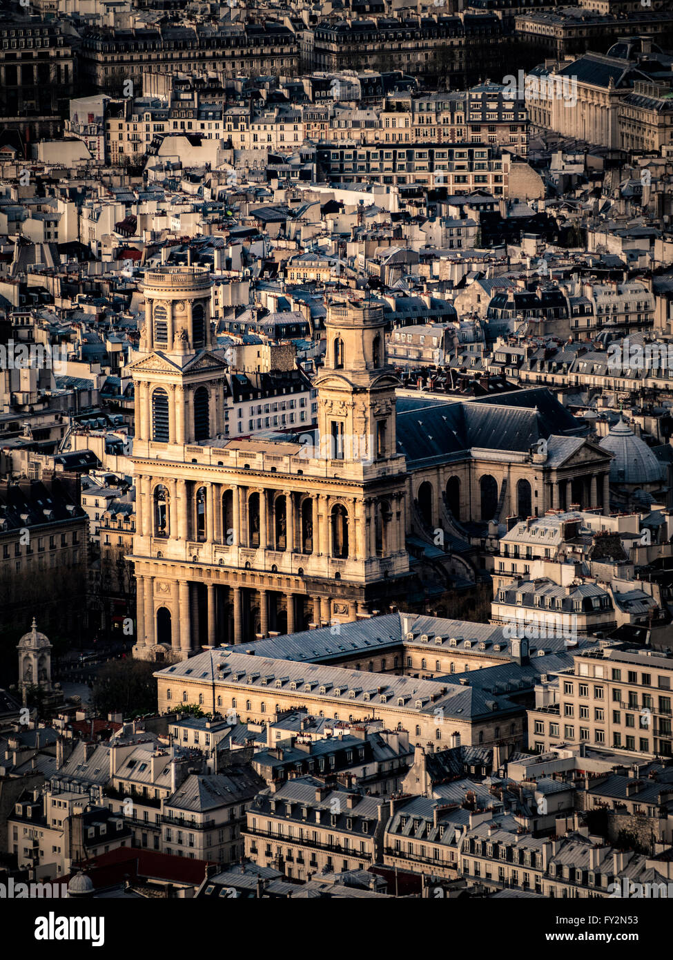 Aerial view of the Church of Saint-Sulpice, Paris, France. Stock Photo