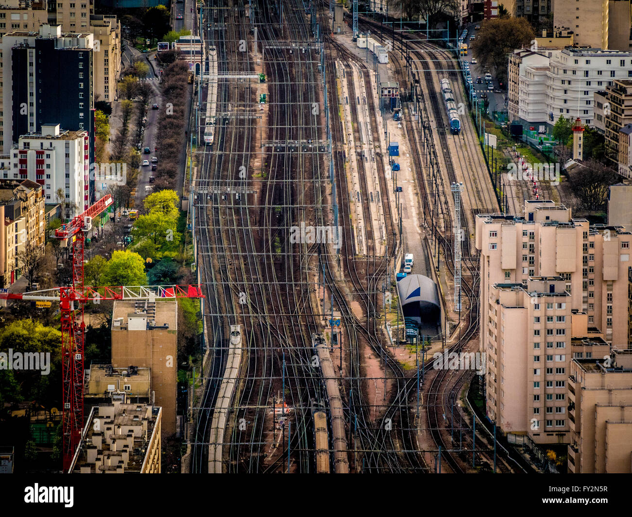 Railway tracks leading into Gare Montparnasse, Paris, France - Stock Image