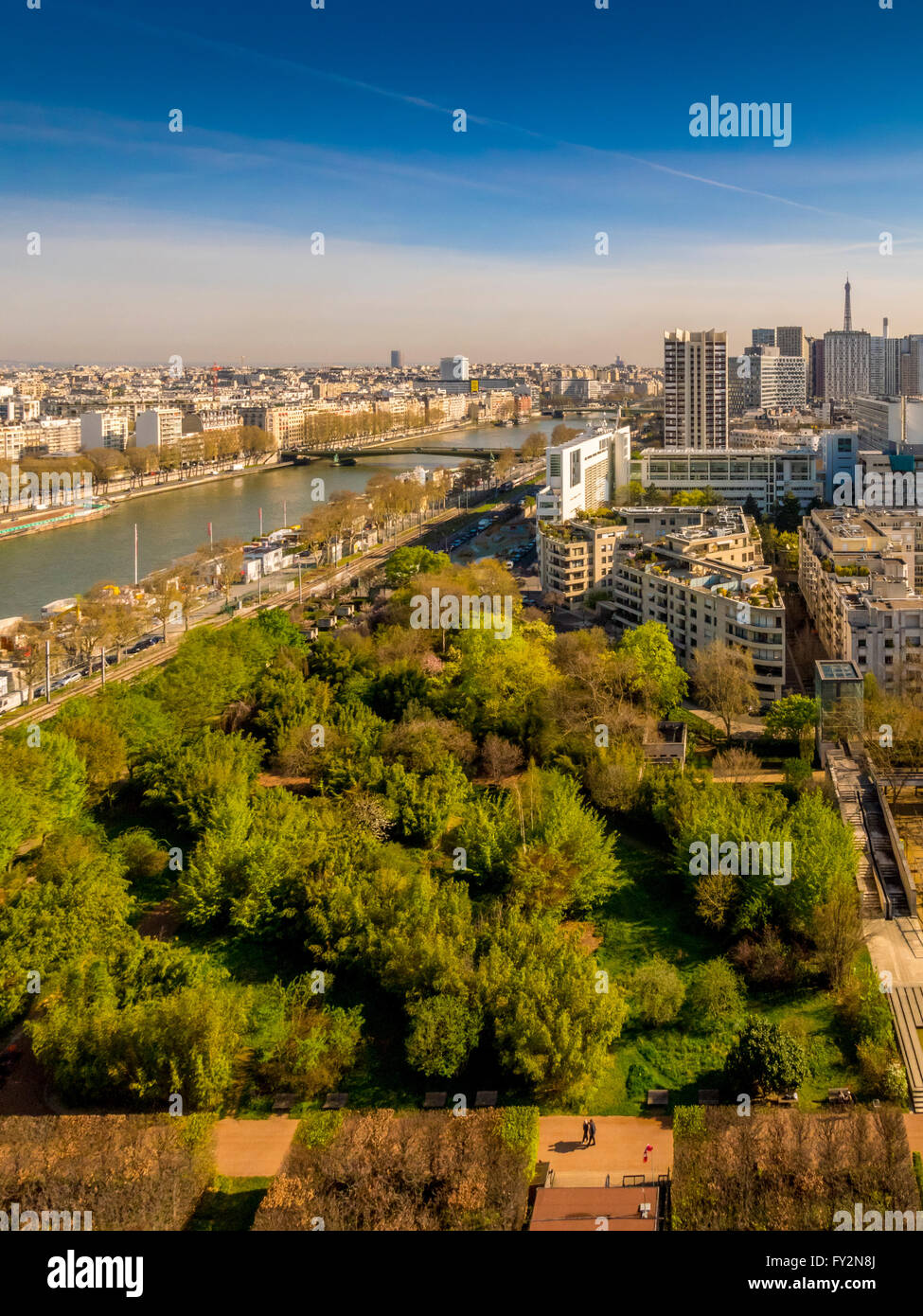 Aerial view of River Seine with Eiffel Tower in distance, Paris, France. Stock Photo