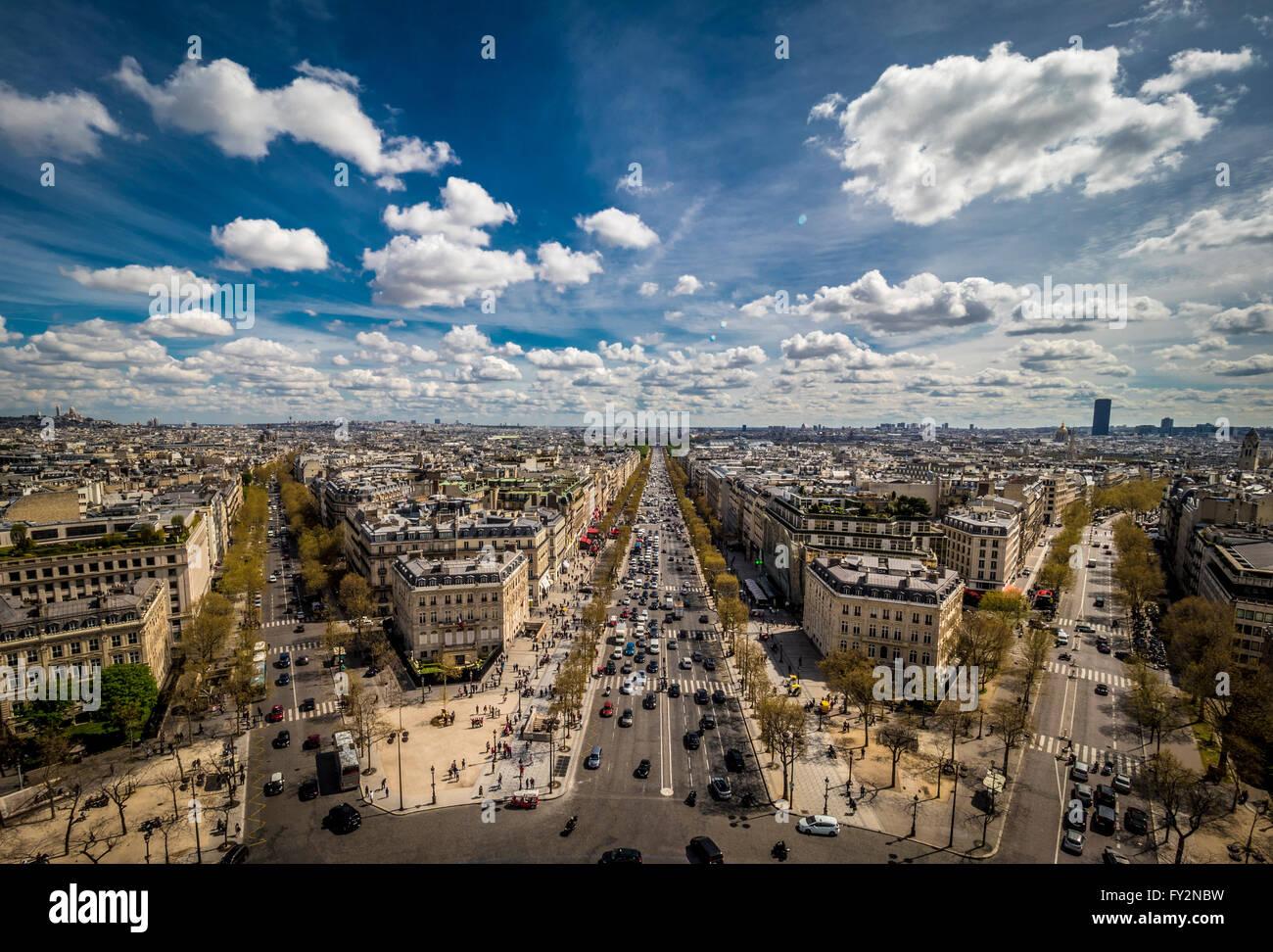 View down the Champs-Elysees towards Place de la Concorde, Paris, France. - Stock Image