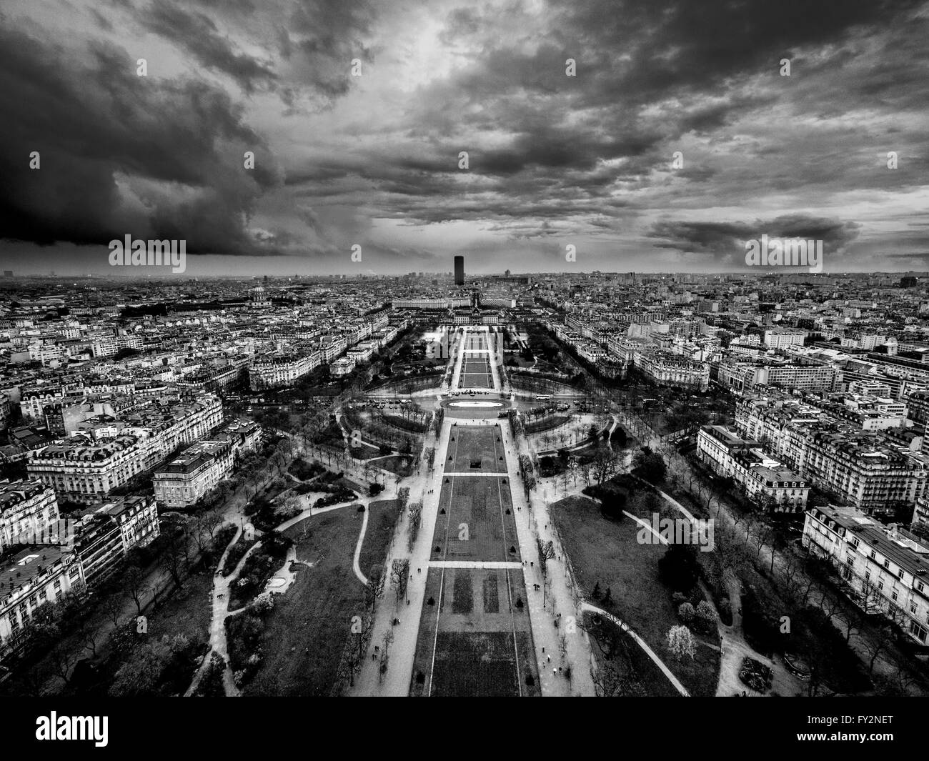 Champ de Mars, with Montparnasse Tower in background, Paris, France. - Stock Image