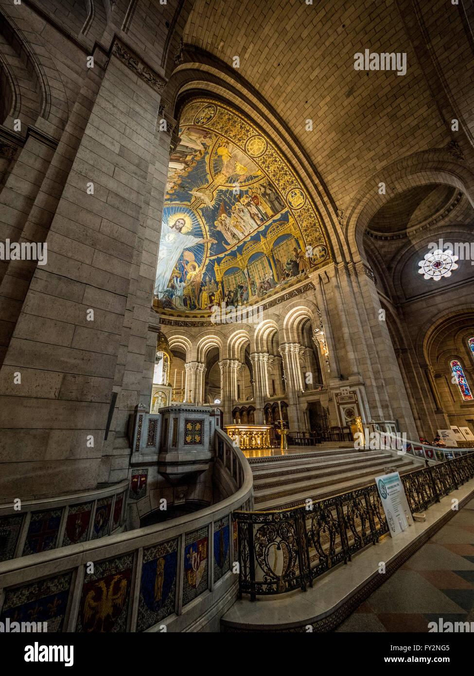 The Basilica of the Sacred Heart of Paris, commonly known as Sacré-Cœur Basilica and often simply Sacré-Cœur Stock Photo