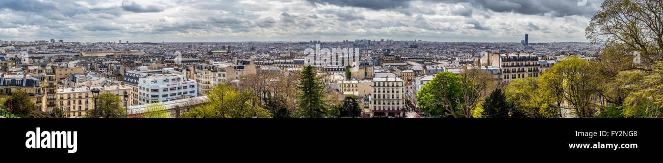 Panoramic view of Paris from Sacre Coeur Stock Photo