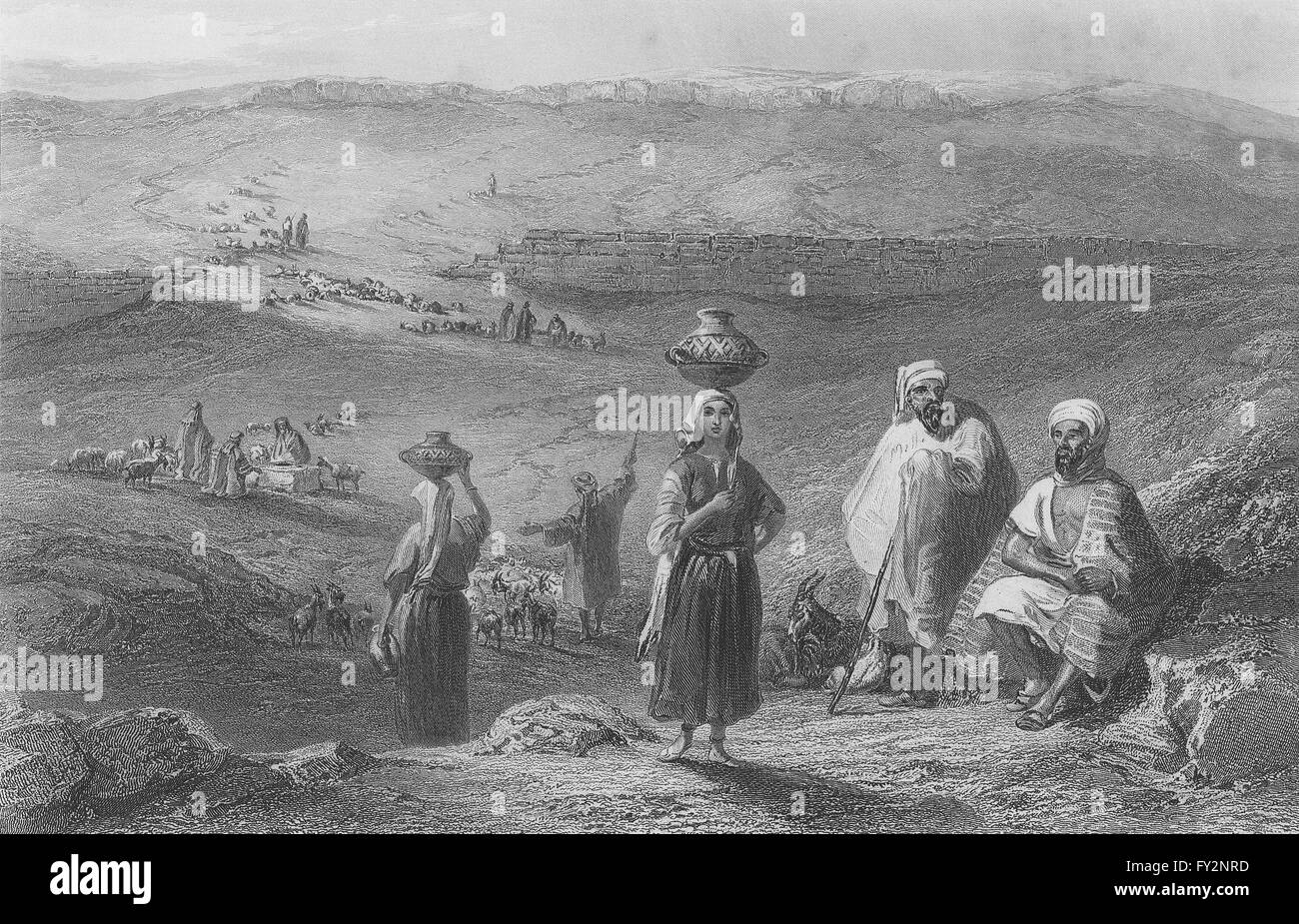 Bethel Israel: ISRAEL: Wells & Remains Of Pool, Bethel-Bartlett, Antique